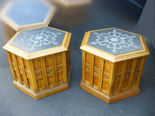 Pair Two Drexel Vintage Mid Century Hexagon Etched Marble End Tables 1964 photo