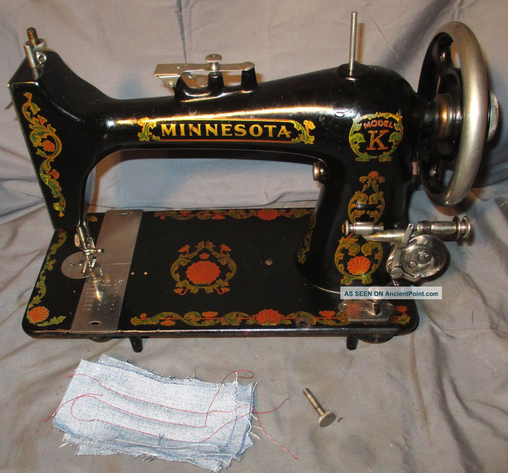 Serviced Antique Minnesota Model K Treadle Sewing Machine Works100% C - Video Sewing Machines photo