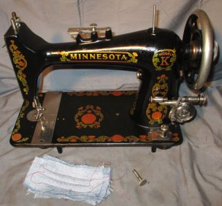 Serviced Antique Minnesota Model K Treadle Sewing Machine Works100% C - Video photo
