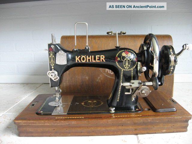 Art Nouveau Cased Hermann Köhler Hand Cranck Sewing Machine Kohler Sewing Machines photo