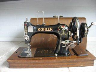 Art Nouveau Cased Hermann Köhler Hand Cranck Sewing Machine Kohler photo