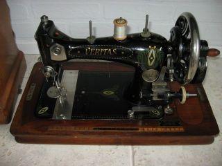 Art Nouveau Mother Clemens Muller Veritas Hand Cranck Sewing Machine photo