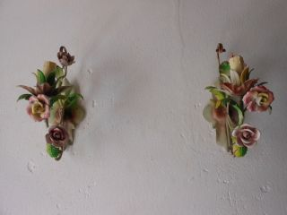 C 1940 French Tole Porcelain Roses Sconces Vintage Old photo
