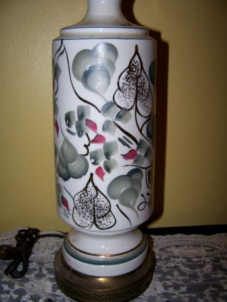 Vintage Single Porcelain Hand Painted Fruit Acanthus Motifs Signed Table Lamp photo