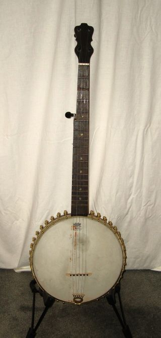Antique 5 String Banjo 36 Brass Tension Rods Pat.  Jan 4 1887 Unique photo