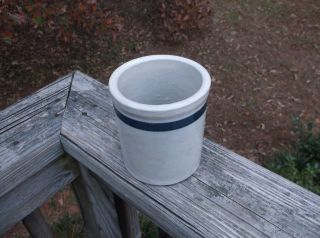 Old Bristol Glaze Cobalt Blue Band Stoneware Beater Crock Jar Round Bottom Minty photo