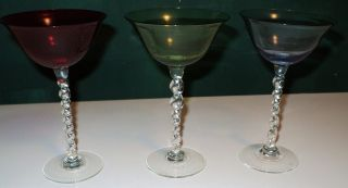 Antique/vintage Rare Set Of 3 Champagne/wine Glasses Red/green/blue Clear Stems photo