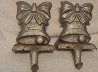 2 Rare Rusty Cast Iron Antique Vintg Stocking Hanger Silver Bell Pair Depression photo