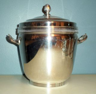 Vintage Sheffield Silver Co.  Silverplate Ice Bucket With Glass Insert photo
