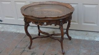Antique French Mahogany Carved Oval Tea/coffee Table With Removable Glass Tray photo