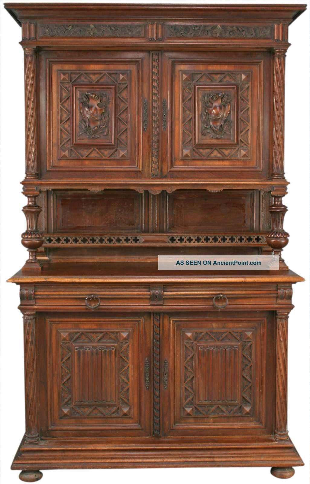 Great Antique French Ornately Carved Walnut Gothic Buffet Server 1900-1950 photo