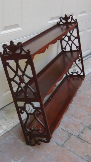 Antique French Large Mahogany Carved2 Tiers Hanging Display Shelf Harp Shape photo