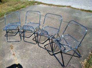 Set 4 Plia Castelli Italian Mid - Century Modern Clear Lucite Folding Chairs photo