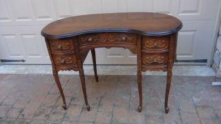 Antique French Walnut 6 Legs,  4 Drawers Victorian Carved Kidney Desk Bureau photo