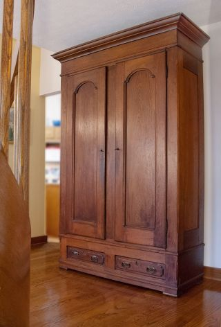 Antique Walnut Knock - Down Armoire. photo