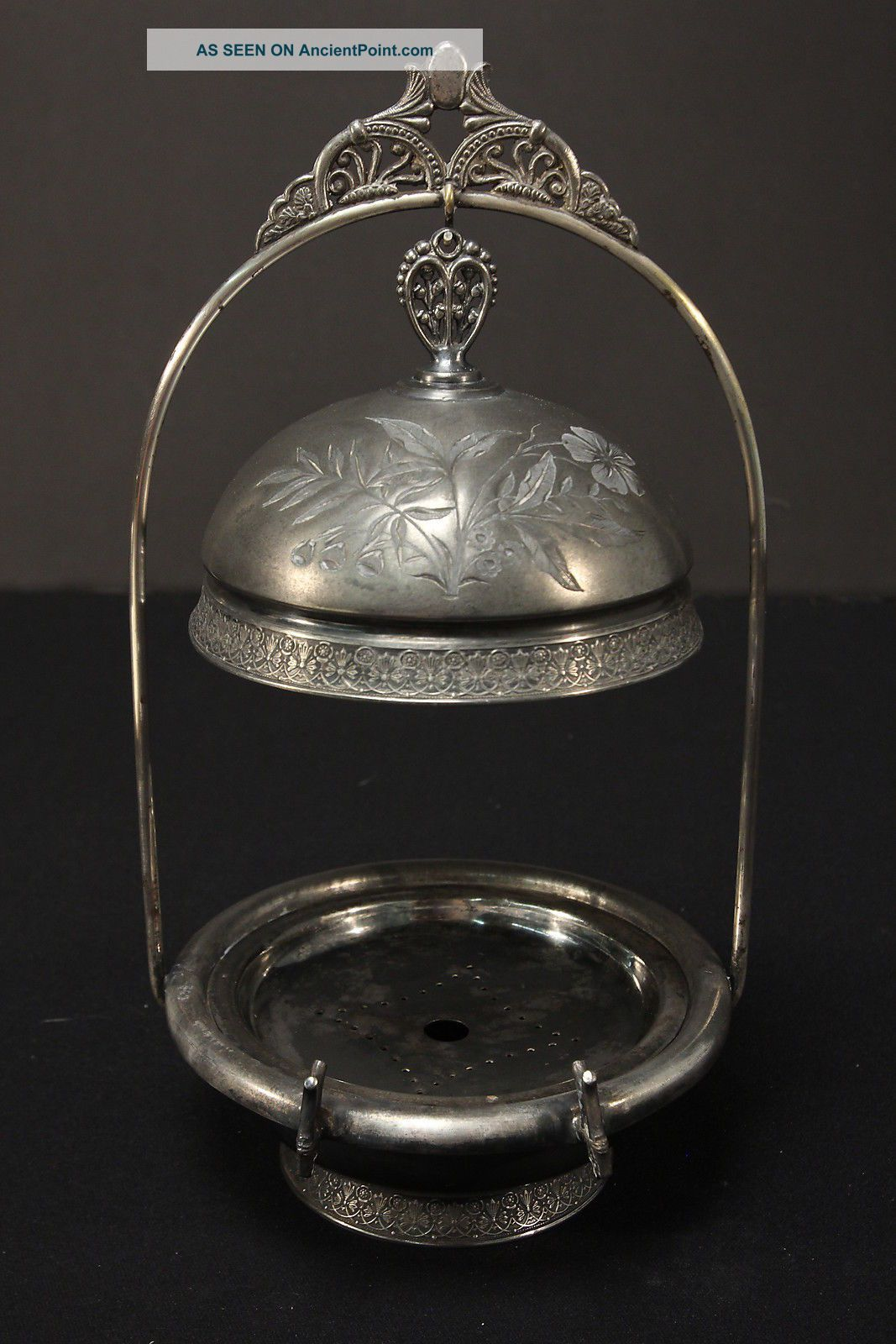 Pairpoint Quadruple Silverplate Antique Basket Stand Domed Butter Server Dish Butter Dishes photo