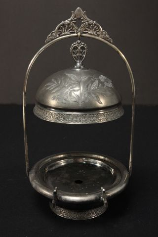 Pairpoint Quadruple Silverplate Antique Basket Stand Domed Butter Server Dish photo