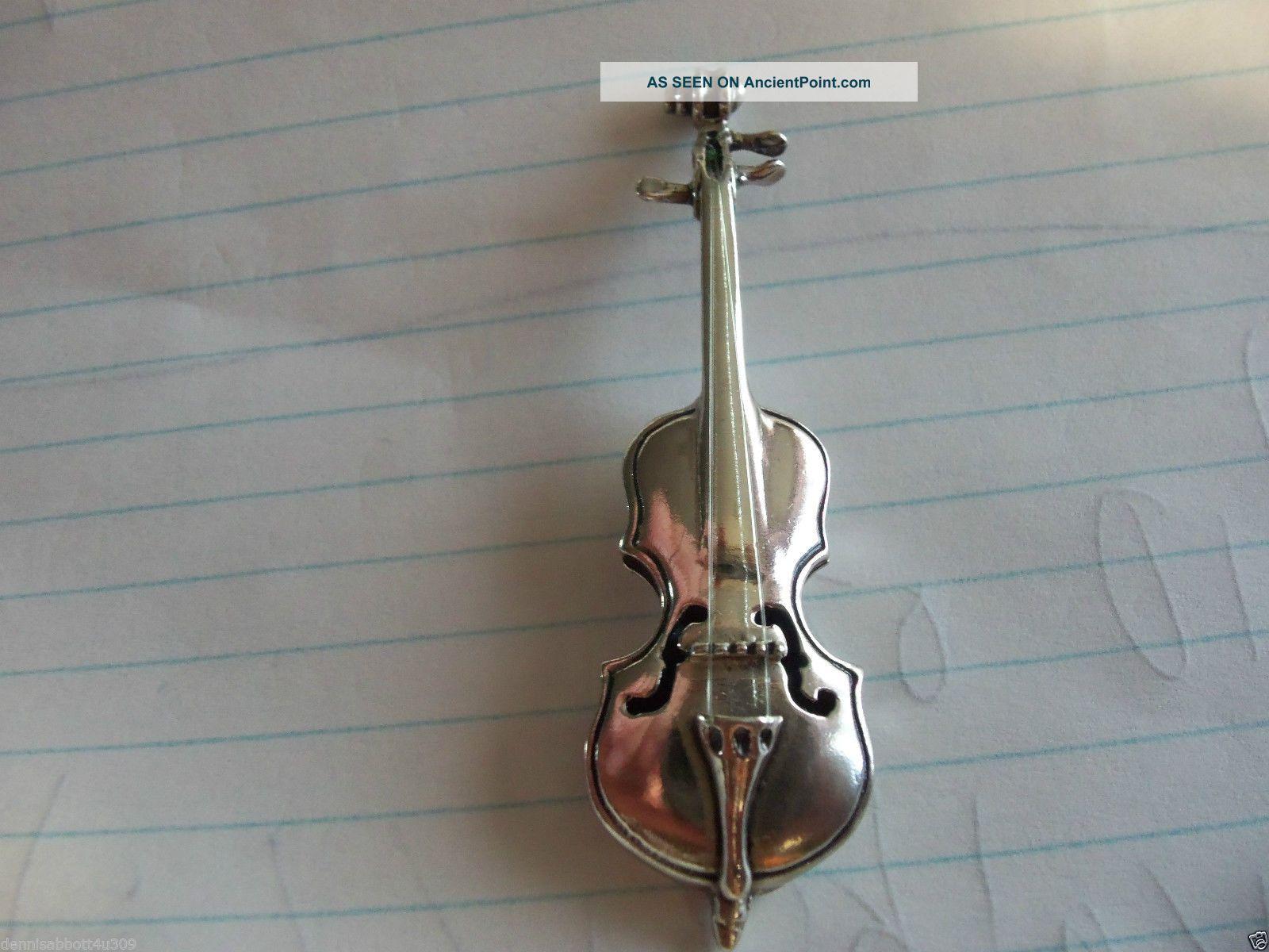 Vintage Sterling Silver Minature Violin {800 Fine Silver} Silver Alloys (.800-.899) photo