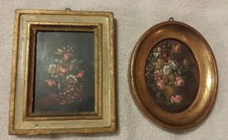 Vintage Of 2 Floral Antiqued Florentine Plaques Made In Italy photo