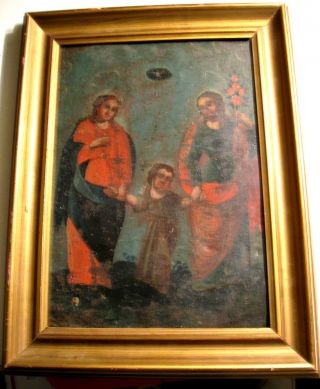 Antique Retablo On Tin With Image Of The Holy Family photo