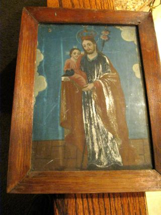 Antique Retablo On Tin With The Image Of Saint Joseph Framed photo