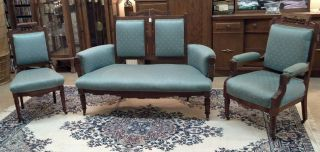 Antique Victorian Parlor Set,  Loveseat And 2 Chairs,  Ornate Walnut Inlay Pretty photo
