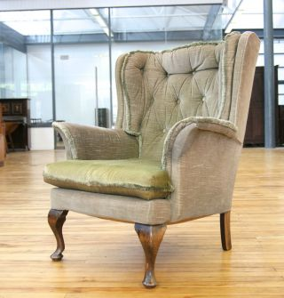 Edwardian Wing Armchair Queen Anne Revival Fireside Chair Antique photo