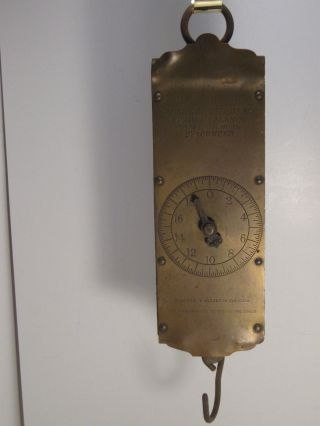 Antique Brass C.  Forschner ' S Circular Spring Balance Hanging Scale 60 Lb.  Cap. photo