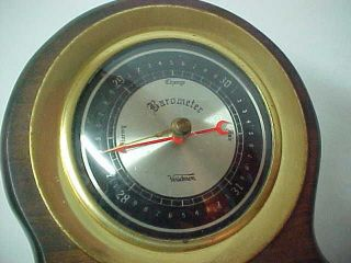 Vintage Verichron Barometer W Cast Metal Eagle Wood Brass Weather Instrument Usa photo