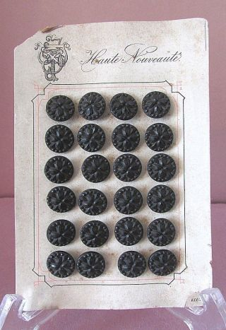 24 Vintage Victorian Haute Nouveaute France Black Glass Button On Card photo