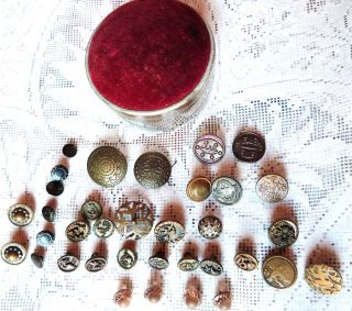 Victorian Pin Cushion Esthetic Movement Buttons Vintage Brass Sew Buttons photo