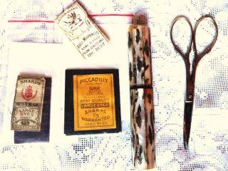 Vintage Sewing Scissors Vintage Sew Etui Needle Mother Of Pearl Etui Needle photo