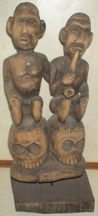 Rare Vintage African Art Tribalcouple Figure/sculpture Sitting On Scalp photo