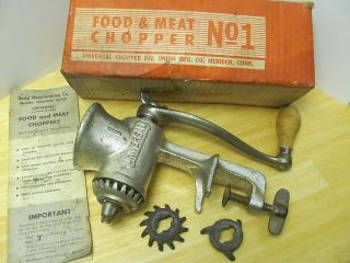 Vtg Universal Food & Meat Chopper No 1 Union Mfg Co Usa photo