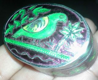 Antique Green & Purple Enamel On Sterling Silver.  925 Snuff /pill Box photo