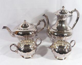 Birks Silver Primrose Plate 4 Pc Tea Set Coffee Pot Teapot Sugar Creamer Melon photo