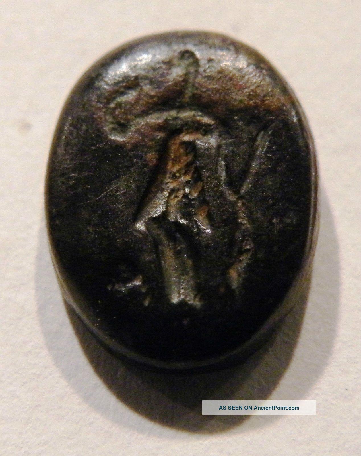 Rare Egypto - Phoenecian Silver Bezel - Intaglio Depicting A Hunter Near Eastern photo