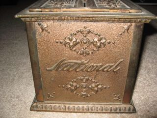 Antique National Cash Register Receipt Box Cast Iron Glass Sides Brass Finish photo