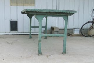 Vintage Factory Industrial Work Table Cast Iron Legs Heavy Rock Maple Wooden Top photo