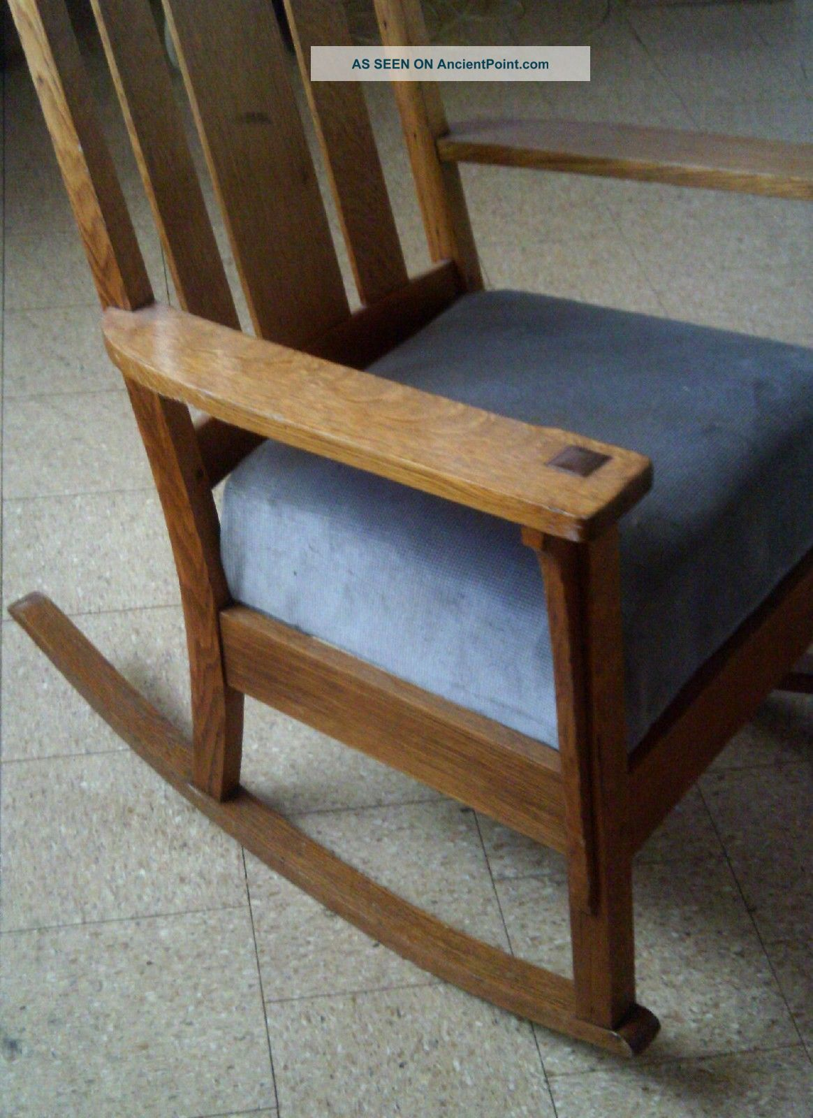Vintage arts amp crafts antique mission design oak rocking chair arts
