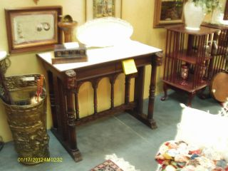 Charming Vintage Empire Style Marble Top Desk Or Console photo