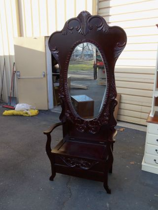 49414 Solid Mahogany Hallseat With Beveled Mirror And Lift Top Bench photo