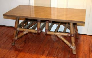 Mid - Century Formica Top Calif - Asia Rattan Coffee Table Circa 1950 ' S Piece photo