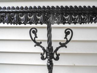 Antique Victorian Wrought Iron Painted Pedestal Stand photo