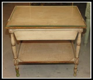 Small Antique Paint Decorated Side Or End Table Nr photo
