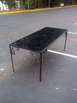 Rare Antique Italian Glass - Topped Table With Cast Iron Base photo