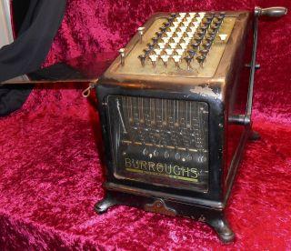 Antique Rare Burroughs Adding Machine Pre - Calculator Glass Steampunk 6x Works photo