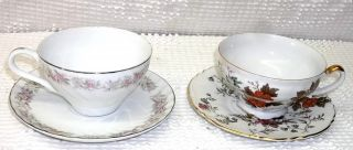 Vintage 2 Fine China Cups & Saucers From Japan Teahouse Rose & Cottage Daisies photo