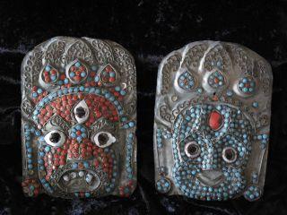 Vintage Tibetan Silver On Brass Inlayed Masks…kathmandu,  Nepal - Sherpa People. . photo