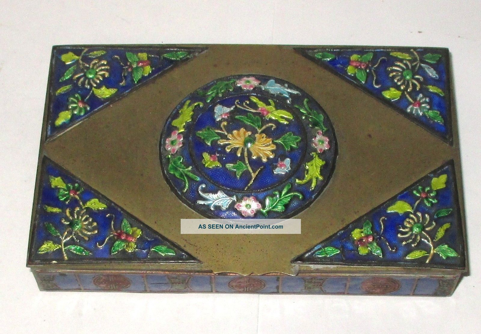 Old Chinese Repousse Cloisonne Enamel Humidor Jar Box Boxes photo